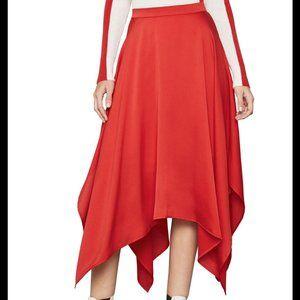 BCBGMAXAZRIA Handkerchief Hem Satin Midi Skirt XXS